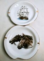 Vintage DEE BEE CO Horse & Tall Ship CERAMIC ASHTRAY Lot - Mid Century MCM Set