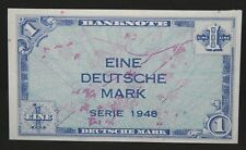 GERMANY 1 MARK ALLIED OCCUPATION MILITARY CURRENCY POST WWII 1948 P 2a