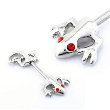 Pair Of Red Gem Eyed Lizard Gecko Nipple Bar Shields 14G 15Mm Barbell