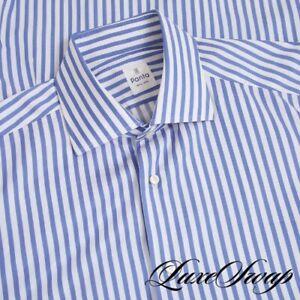#1 MENSWEAR Panta New York White Blue Broad Stripe Spread Collar Shirt 16.5 NR