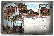 Litho Gruss aus Grevenbroich, 6 Bilder, mit Breite Strasse, etc., gel. 1.1.1901