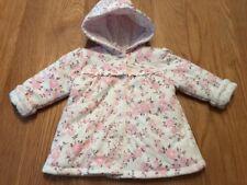 Baby Girls Cream & Pink Floral Hooded Jacket Reversible George 3-6 Months
