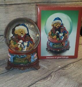 Vintage  JcPenny Snow Globe Ceramic Christmas  Ceramic Base Plays Music  Bears
