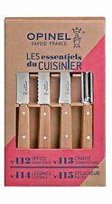 Opinel manche bois ,1 couteau office + 1 cranté + 1 à légumes +1 éplucheur 115