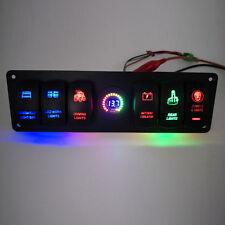12V/24V 6 Gang LED Rocker Switch Panel Circuit USB Charger Voltmeter Boat Marine