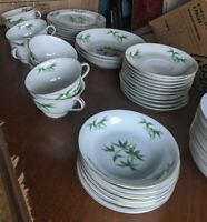 Vintage ORION Fine China of Japan  Green Bamboo & Gold Trim total 43 pcs