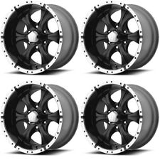 """Set 4 15"""" Helo HE791 Maxx Black Machined Rims 15x8 5x4.5 -12mm Lifted Jeep Ford"""