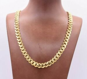 9mm Miami Cuban Royal Link Chain Necklace CZ Box Clasp Real 14K Yellow Gold