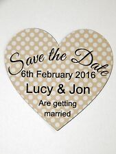 10 Save The Date Personalised Champagne Wedding Heart Magnet Cards & Envelopes