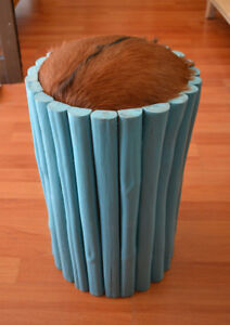 Small stool goat hide seat sticks bamboo driftwood  blue teal tourqouise accent
