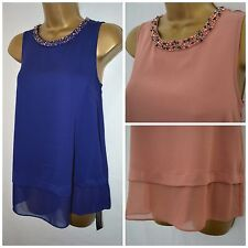 NEW DEBENHAMS EMBELLISHED TOP TUNIC PEACH PINK COBALT BLUE BEADED PARTY 8 - 18