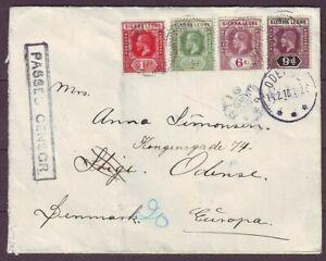 d7387/ Sierra Leone Censor Cover t/Odense Denmark 1918 w/STIGE Star Cancel