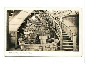 c1940 Real Photo PC: Stone Fountain at Many Glacier Hotel, Glacier National Park