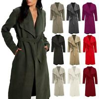 Ladies Womens Italian Waterfall Coat Belted Oversized Duster Drape Trench Coats