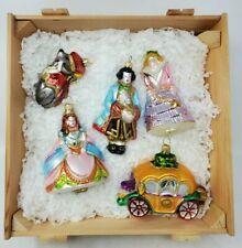 Kurt Adler Polonaise Cinderella 5 Piece Glass Ornament Ltd Ed Boxed Set