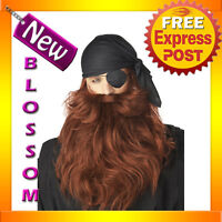 A103 Mens Deluxe Pirate Beard and Moustache - Red Halloween Costume Accessory