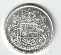 CANADA 1957 50 CENTS HALF DOLLAR QUEEN ELIZABETH II .800 SILVER COIN