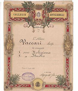 DIPLOMA COLLEGIO ARTIGIANELLI TORINO 1930 I PREMIO ( GIOVANI POVERI ) 20-20