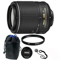Nikon AF-S DX NIKKOR 55-200MM f/4-5.6G ED VR II Zoom Lens + 52mm UV filter +More