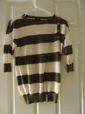 ANN TAYLOR Women's Gray & White Wide Stripe 3/4 SLEEVE SWEATER SIZE Petite XS