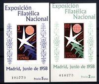 Sellos de España 1958  nº 1222/1223 Hojitas Bruselas Nuevos