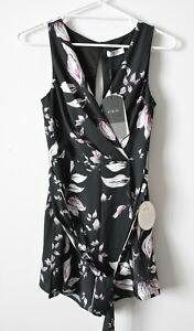 Pilgrim Playsuit Womens Size 6 Black White Pink Floral Sleeveless