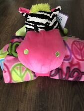 Huggable Little Monsters Idea Nuova Plush Animal with fleece Blanket 50x60 NWT