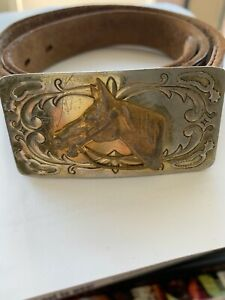 "Vtg Chambers Belt Co Tooled Leather Belt Horse Head  Buckle Silver/Nic 26"" Child"