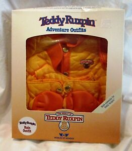 Vintage 80's Worlds of Wonder Teddy Ruxpin Adventure Rain Oufit NEW IN BOX