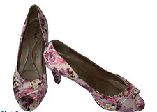 Soft Style Women's Hush Puppies Shoes Floral heels 8.5-Excellent Cond Worn Once