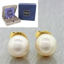 Designer Mikimoto 18k Solid Yellow Gold 7-7.5mm Pearl Stud Earrings