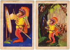 Colección completa de 2 cromos fábula La Mona 7,5 x 10,5 cm.
