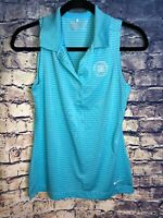 NIKE Golf Tour Performance Dri Fit Womens Blue Polo Sleeveless Shirt Small🔥