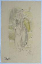 Gustave Doré 1865 charcoal&colorpencil study on ecru paper 'Samaritan woman' COA