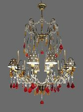 Huge Crystal & Wrought Iron CHANDELIER w/ Metal Shades takes 8 Bulbs + 4 Candles