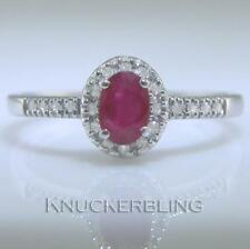 9 Carat Cluster Ruby White Gold Fine Rings