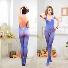 Bodysuit Lingerie Nightwear Crotchless Fish Net Body Stocking Halterneck Blue