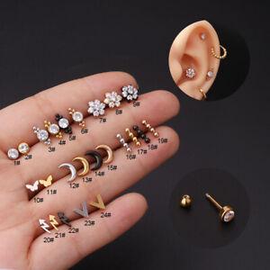 1Pc Zircon Mini Flower Stud Earrings Jewelry Stainless Steel Piercing Ear Cuff