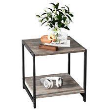 IRONCK Industrial 2-Tier End Table, Night Stand Side Table with Storage