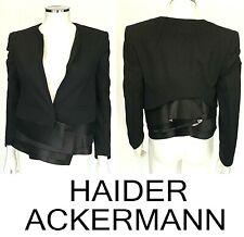 $1500 Haider Ackermann Black Wool Silk Satin Blazer Cropped Size 38 US 0