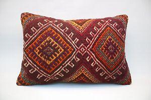 Kilim Boho Pillow, 16x24 inc, Vintage Boho Pillow, Handmade Decorative Pillow