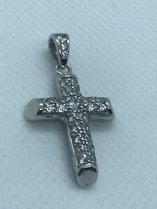 CZ Solid Cross Pendant in 925 Sterling Silver Brand NEW