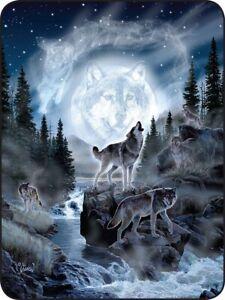 New Wolf Moon Spirit Plush Throw Blanket Al Agnew Outdoor Creek Pack Wolves NIP