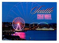 Seattle Great Wheel Washington Postcard New Night Lights Pier Ferry Boat Stadium