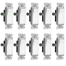 Decorator 15 Amp Rocker / Paddle Switch Single Pole 91150-W White (10 Pack)