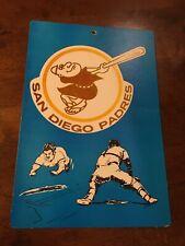 "VINTAGE 1970s MLB FLEER BIG San Diego Padres  8"" X 11""  CARDBOARD SIGN"