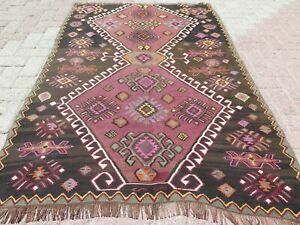"Turkish Kars Small Kilim, Door mat, 3X5 Rug, Small Area Rug, Carpet Tapis 46X69"""