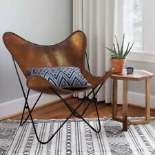 IHA Home Montreux Iron Butterfly Chair with Real Leather Seat Tan