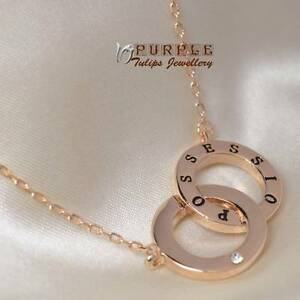 18CT Rose Gold Plated Love Double Circles Necklace Made With SWAROVSKI Crystals