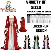 Womens Renaissance Medieval Costume Adjustable Dress Lace Up Irish Floor Length
